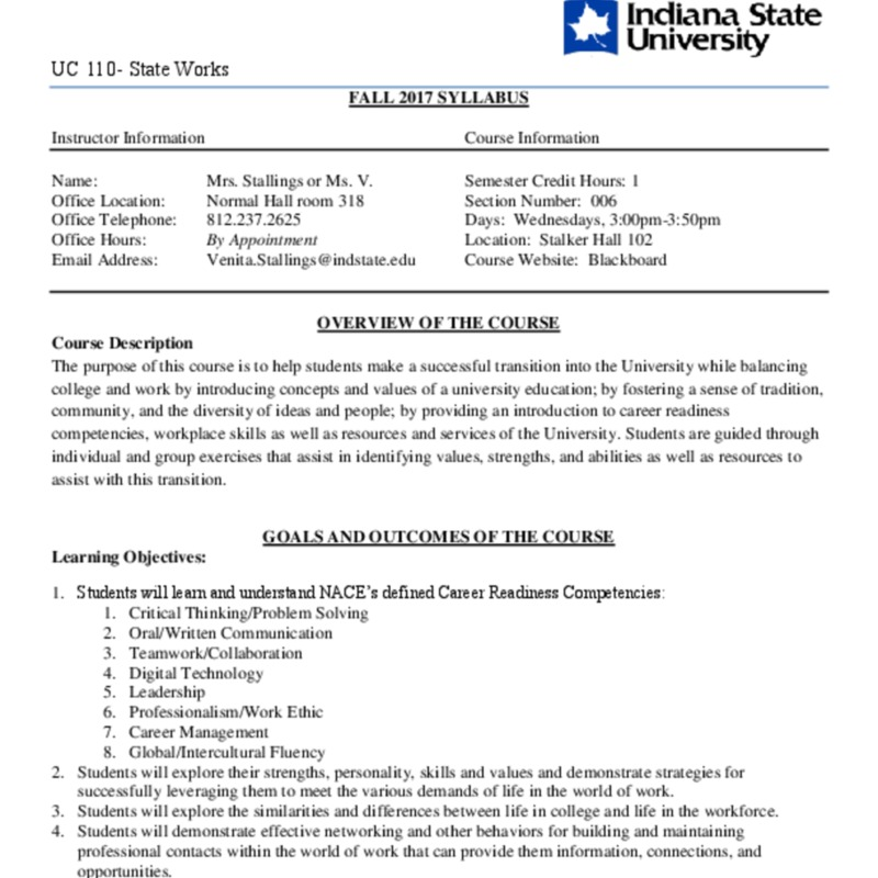 University College 110- State Works FALL 2017 SYLLABUS